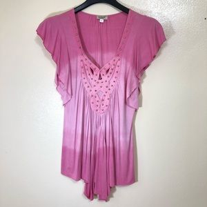 One World Studded Pink Tie Dye Cutout Blouse